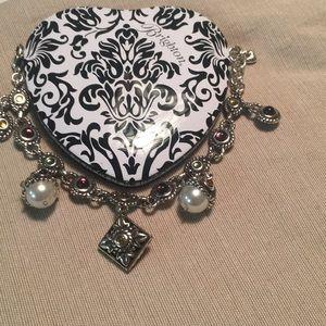 Brighton like new pearl and stone charm bracelet